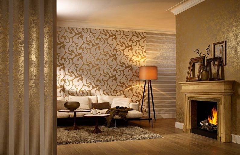 Дизайн гостиной 16 кв.м. - Отделка стен