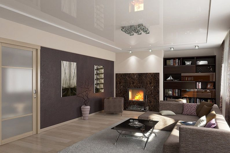 Дизайн гостиной 16 кв.м. - Отделка потолка