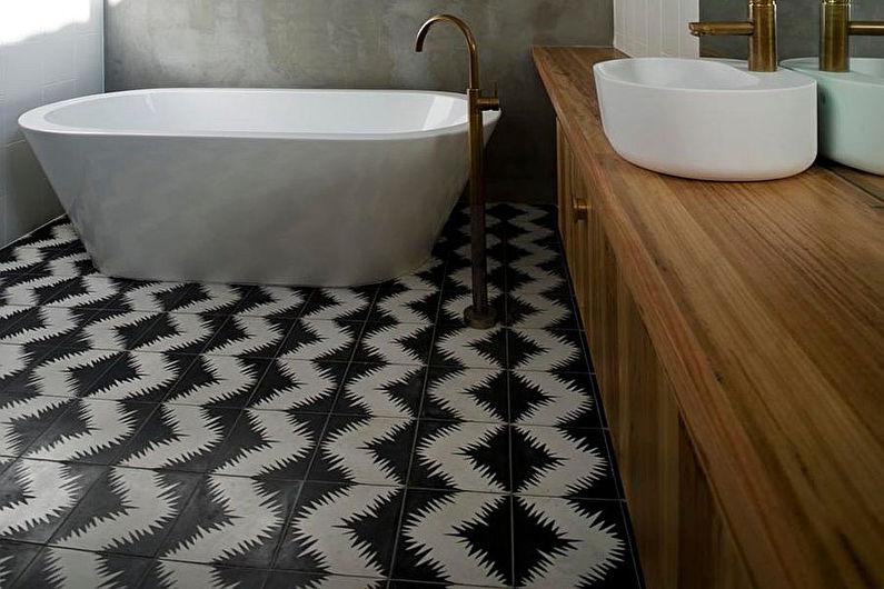 Дизайн ванной комнаты в скандинавском стиле - Отделка пола