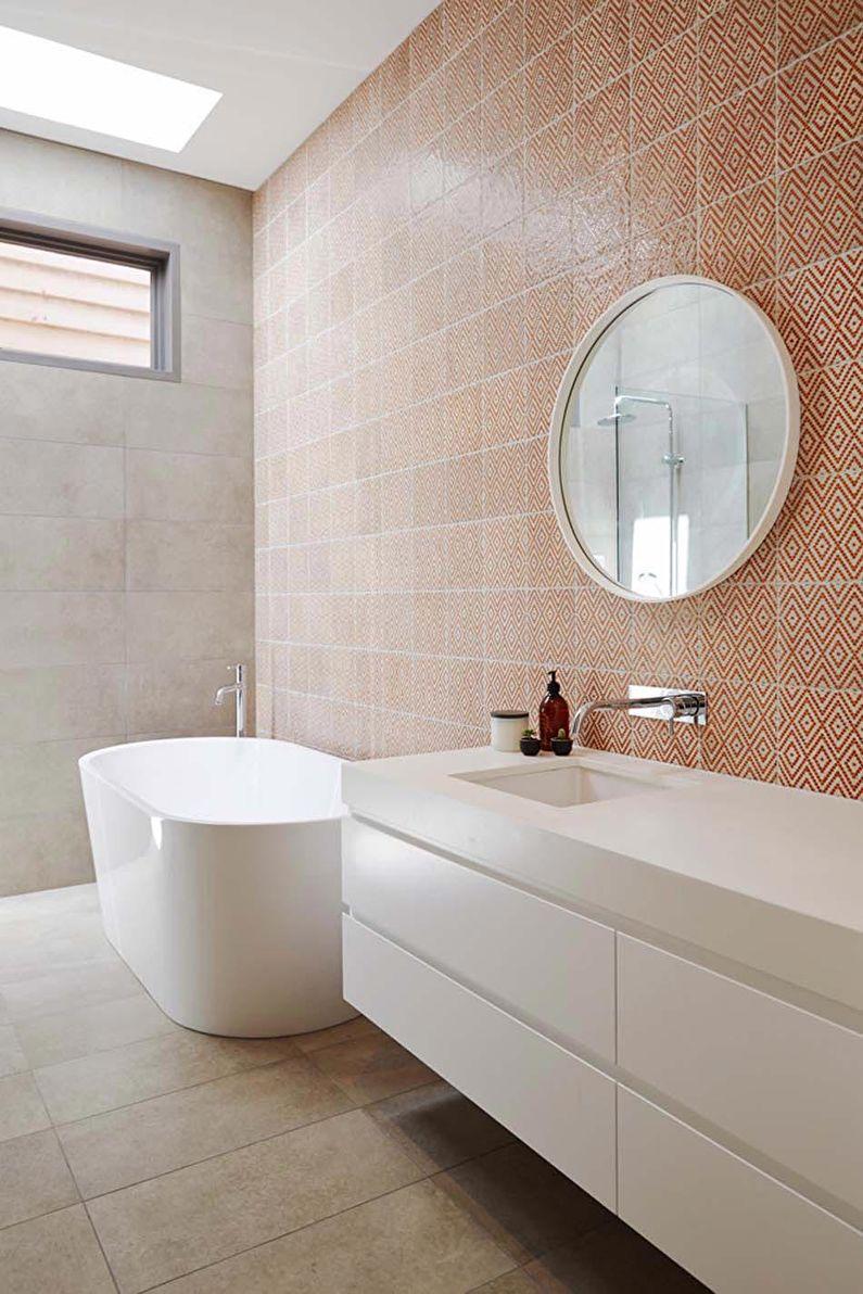 Дизайн ванной комнаты в скандинавском стиле - Отделка стен