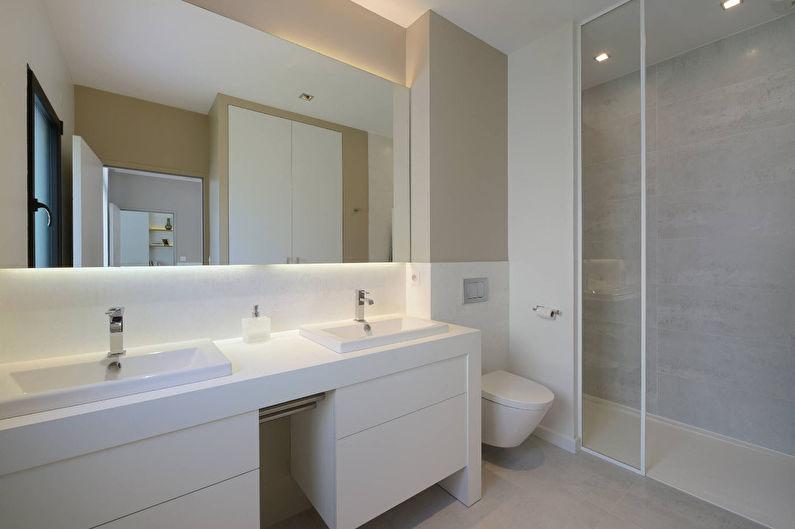 Белая ванная в современном стиле - Дизайн интерьера