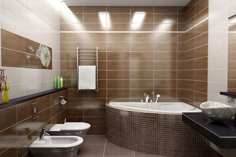 Коричневая ванная в современном стиле - Дизайн интерьера