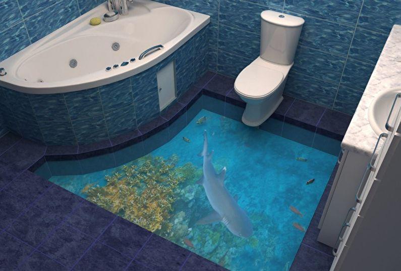Дизайн ванной комнаты в современном стиле - Отделка пола