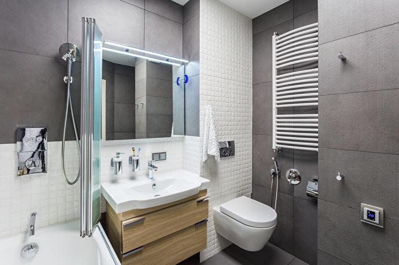 Дизайн интерьера маленькой ванной комнаты в современном стиле