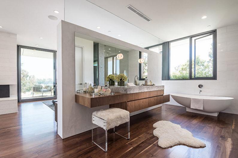 Дизайн интерьера ванной комнаты в современном стиле - фото