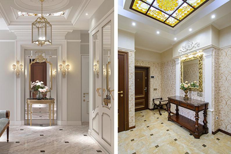 Дизайн прихожей в классическом стиле - Отделка потолка