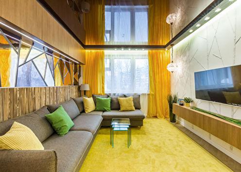 Натяжной потолок в гостиной: 60 фото-идей