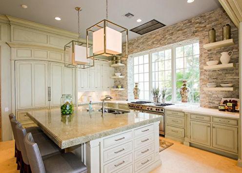 Декоративный камень в интерьере кухни (58 фото)