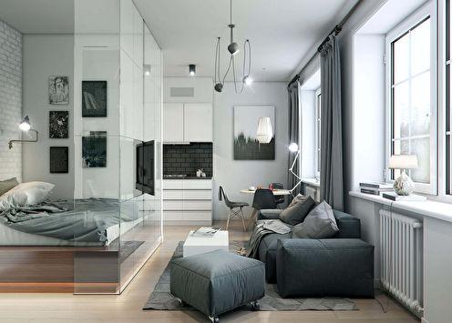 Дизайн гостиной, совмещенной со спальней (73 фото)