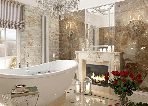 Проект ванной «Кирпич и мрамор»