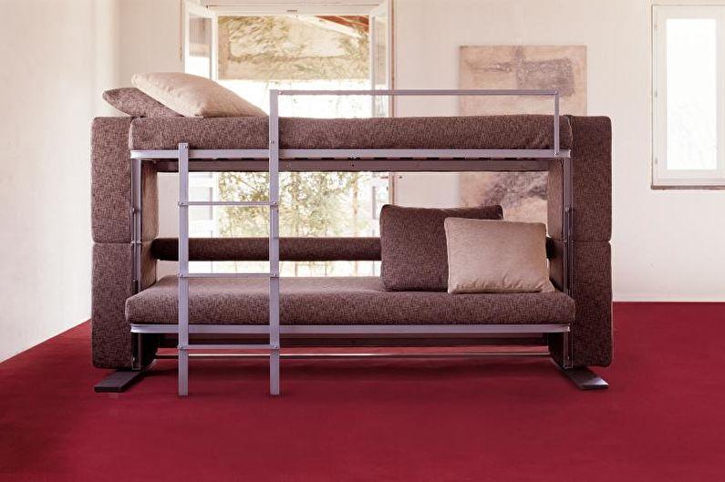 Двухъярусная кровать с диваном - Обивка и наполнитель для дивана