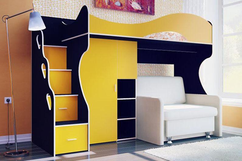 Двухъярусная кровать с диваном - фото
