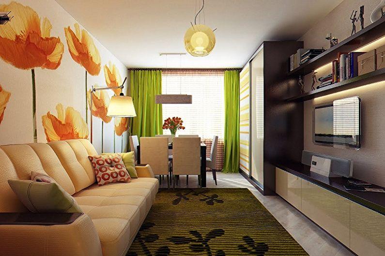 Прямоугольная комната (90 фото): идеи дизайна