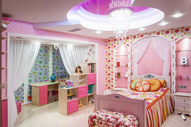 Натяжные потолки в детской с конструкциями из гипсокартона