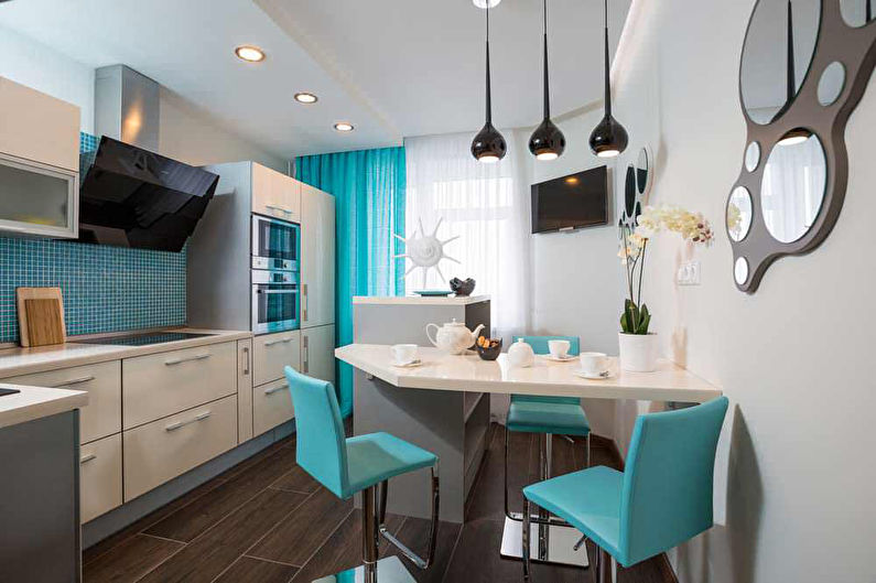 Бирюзовая кухня фото - Дизайн интерьера