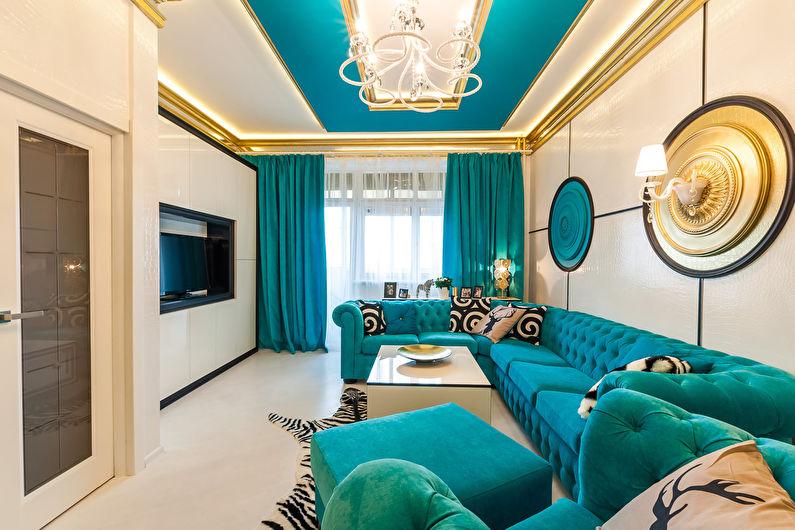 Бирюзовая гостиная фото - Дизайн интерьера