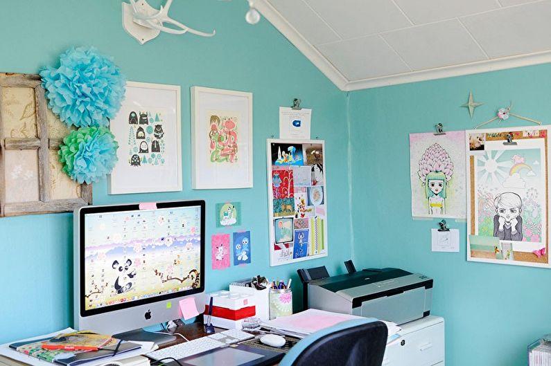 Бирюзовая детская комната фото - Дизайн интерьера