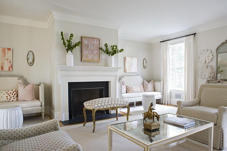 Белая гостиная в классическом стиле - Дизайн интерьера