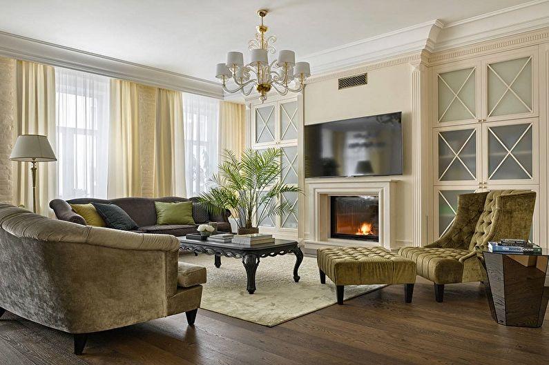 Бежевая гостиная в классическом стиле - Дизайн интерьера