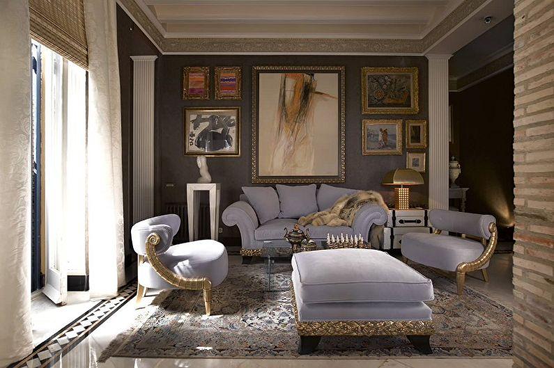 Сиреневая гостиная в классическом стиле - Дизайн интерьера