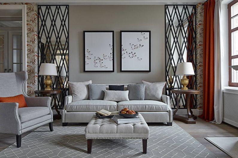 Серая гостиная в классическом стиле - Дизайн интерьера