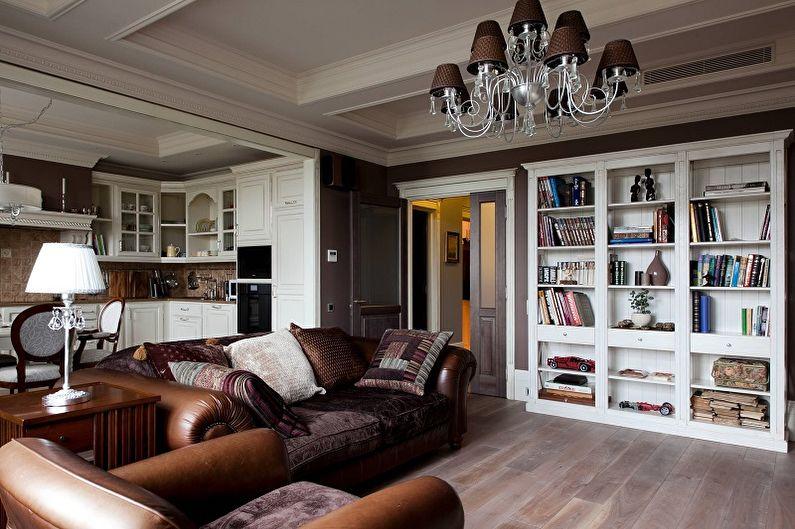 Коричневая гостиная в классическом стиле - Дизайн интерьера