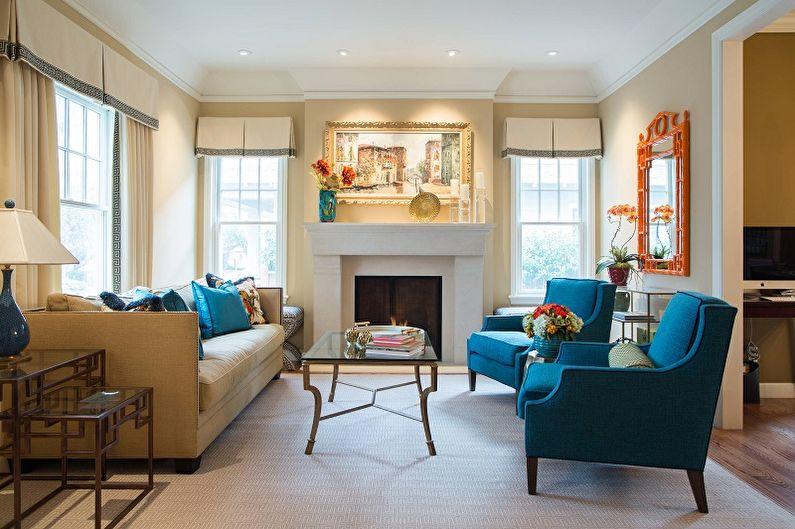 Синяя гостиная в классическом стиле - Дизайн интерьера