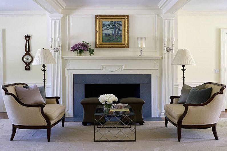 Дизайн гостиной в классическом стиле - Отделка стен