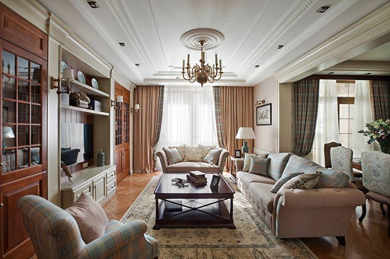 Дизайн гостиной в классическом стиле - Отделка потолка