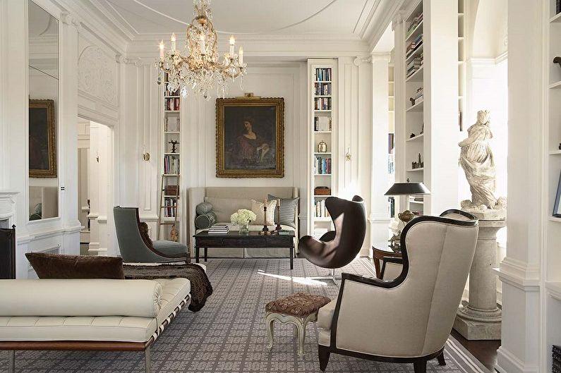 Дизайн интерьера гостиной в классическом стиле - фото