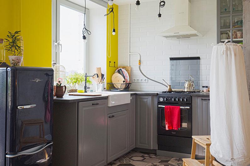 Дизайн кухни 7 кв.м. - Яркие контрасты