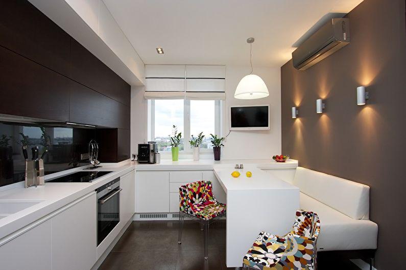 Диван на кухне в стиле хай-тек
