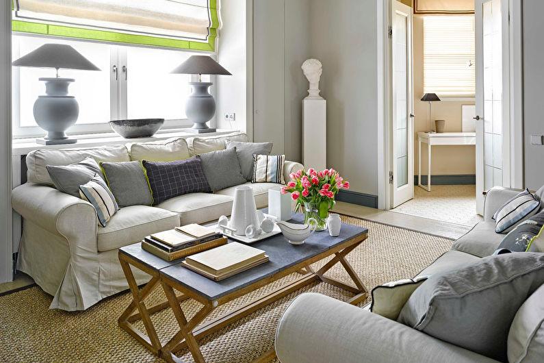 Гостиная 15 кв.м. в стиле современная классика - Дизайн интерьера
