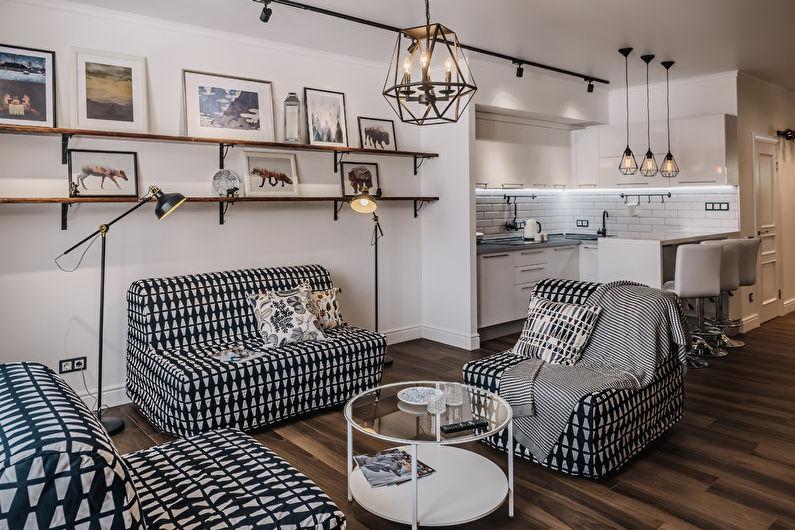 Гостиная 15 кв.м. в скандинавском стиле - Дизайн интерьера