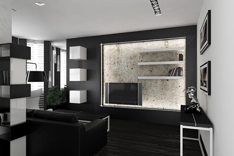 Гостиная 15 кв.м. в стиле хай-тек - Дизайн интерьера