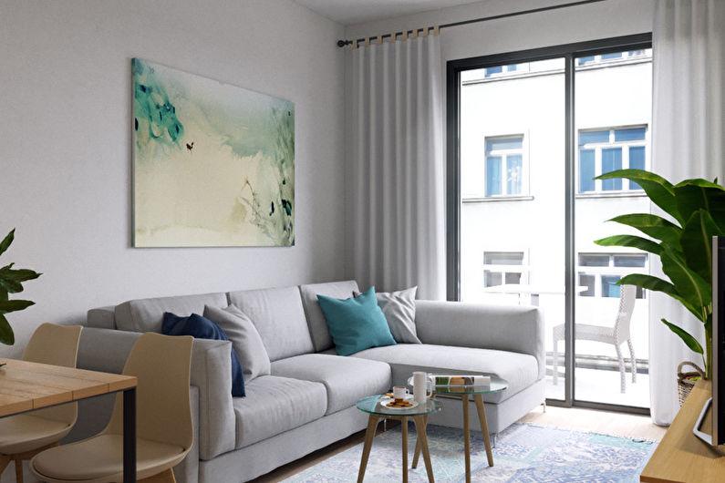 Дизайн гостиной 15 кв.м. - Яркие акценты
