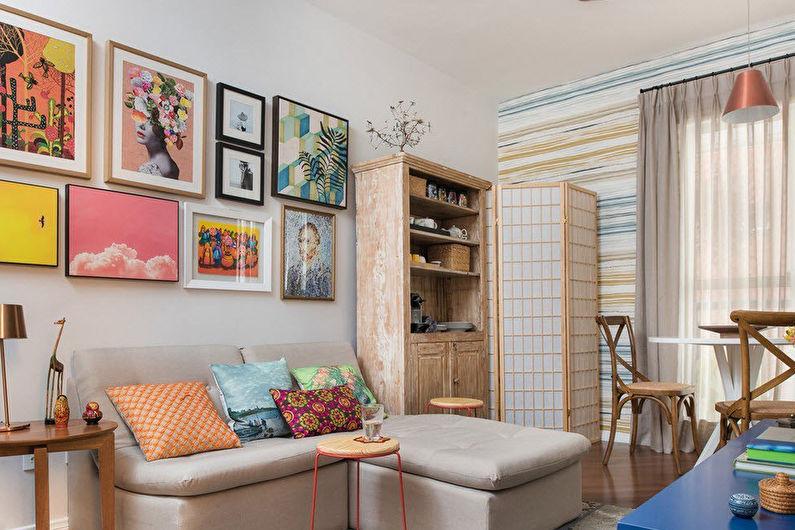 Дизайн гостиной 15 кв.м. - Отделка стен