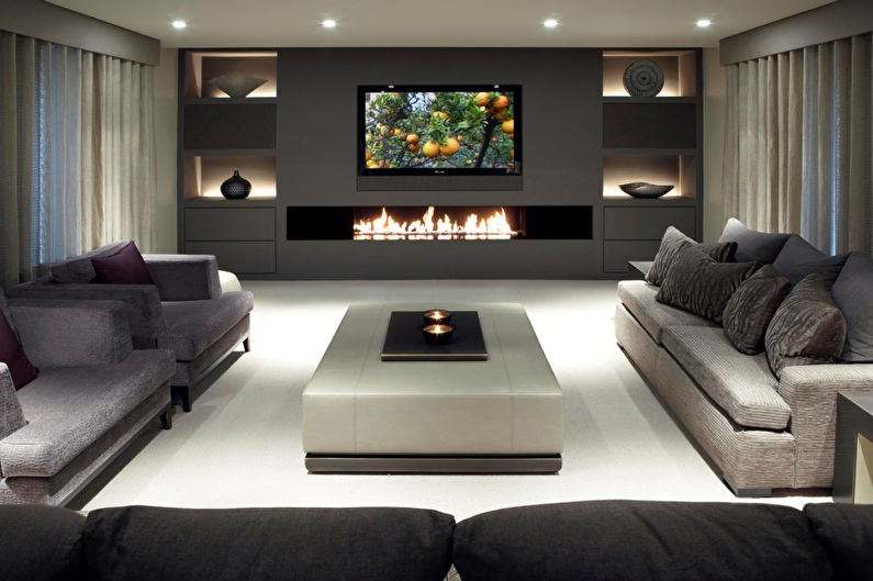 Стена с телевизором - Телевизор в гостиной с камином