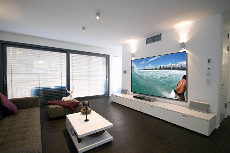 Стена с телевизором - Варианты подсветки