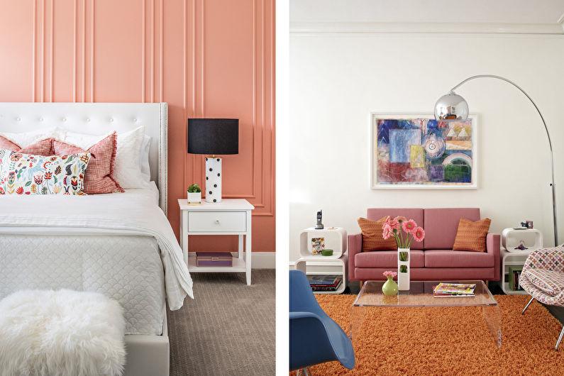 Персиковый цвет в интерьере - Особенности и влияние на психику