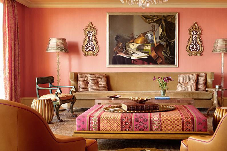 Персиковый цвет в гостиной - Дизайн интерьера