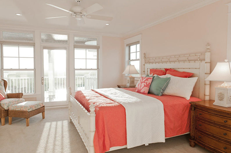 Персиковый цвет в спальне - Дизайн интерьера