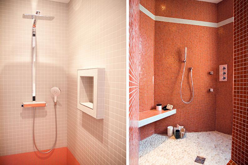 Персиковый цвет в ванной комнате - Дизайн интерьера