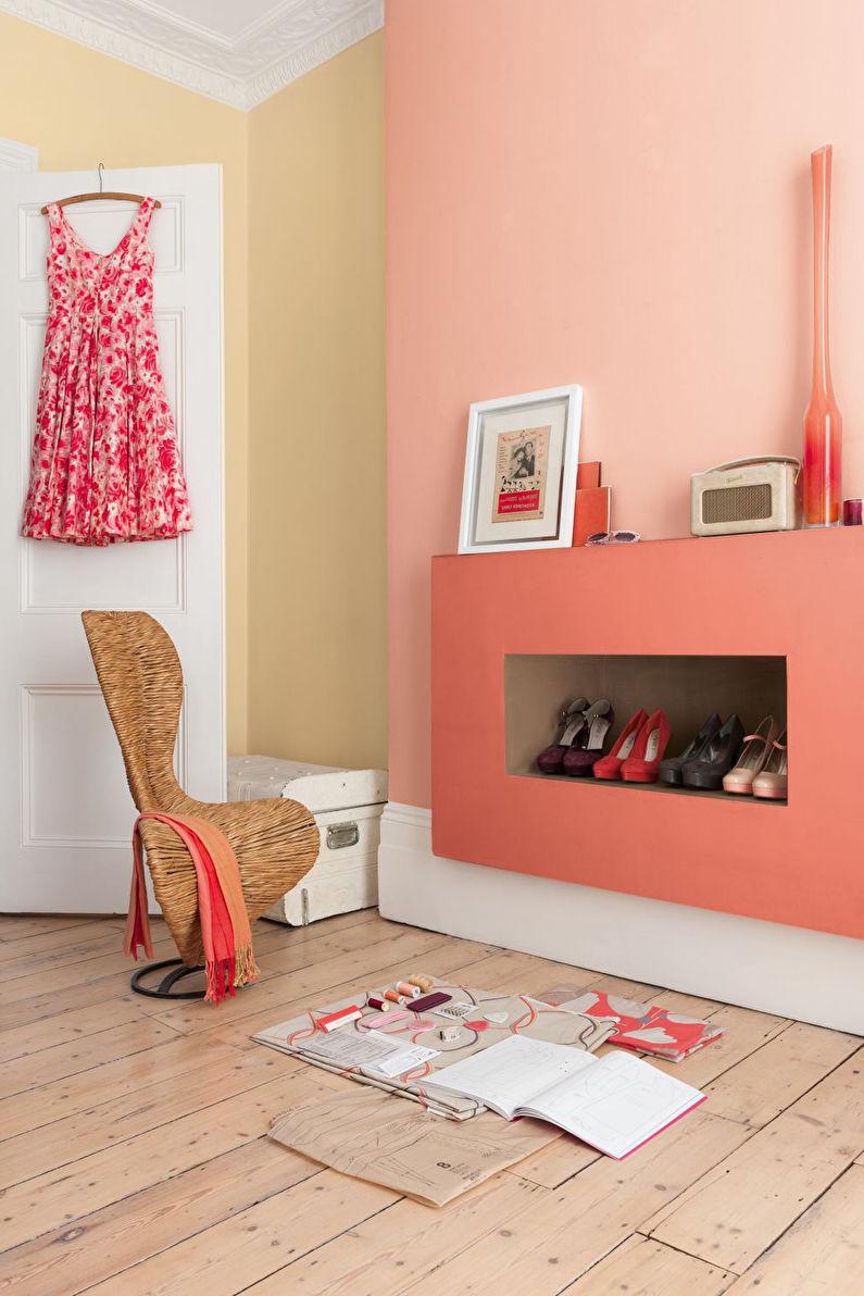 Персиковый цвет в прихожей и коридоре - Дизайн интерьера