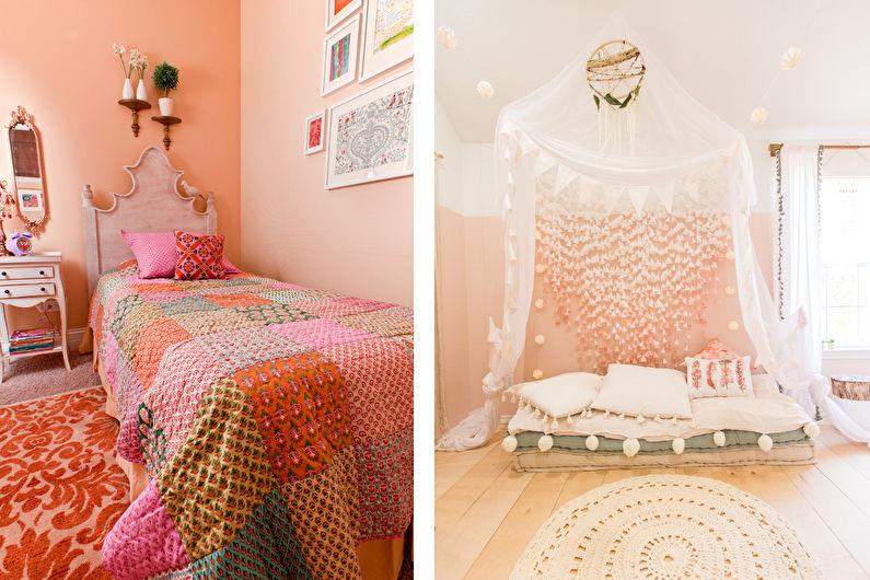 Персиковый цвет в детской комнате - Дизайн интерьера