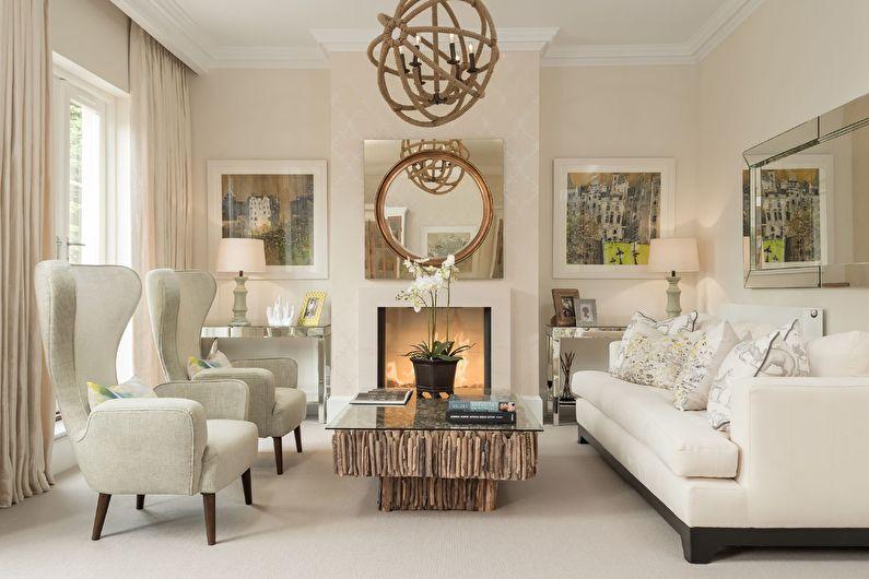 Бежевые обои в гостиной - Дизайн интерьера