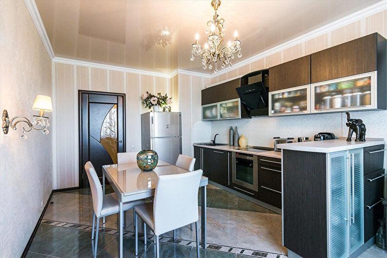 Бежевые обои на кухне - Дизайн интерьера