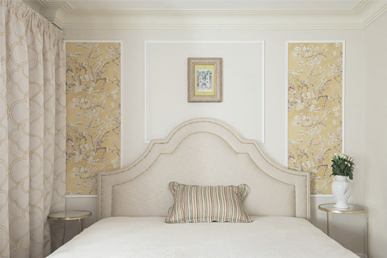 Бежевые обои в спальне - Дизайн интерьера