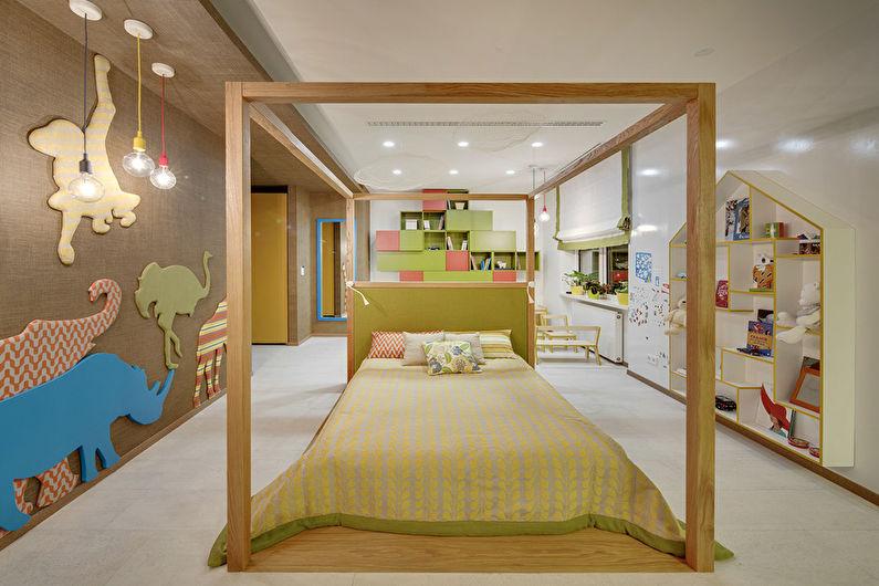 Бежевые обои в детской комнате - Дизайн интерьера