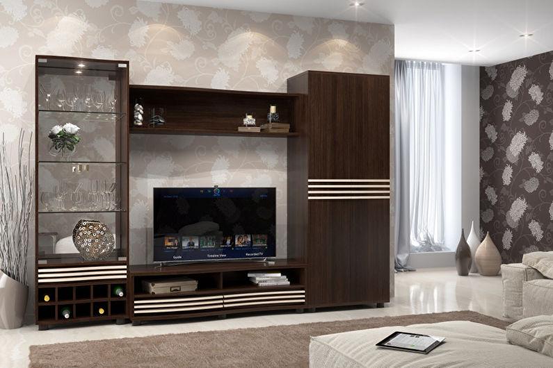 Цвет венге в гостиной - Дизайн интерьера